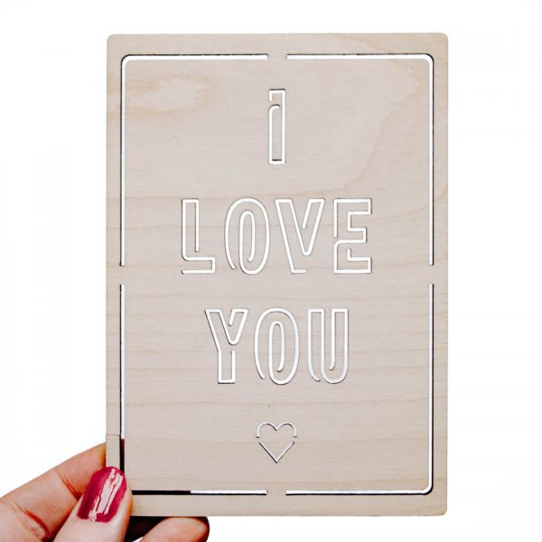 Houten Kaart - I Love You