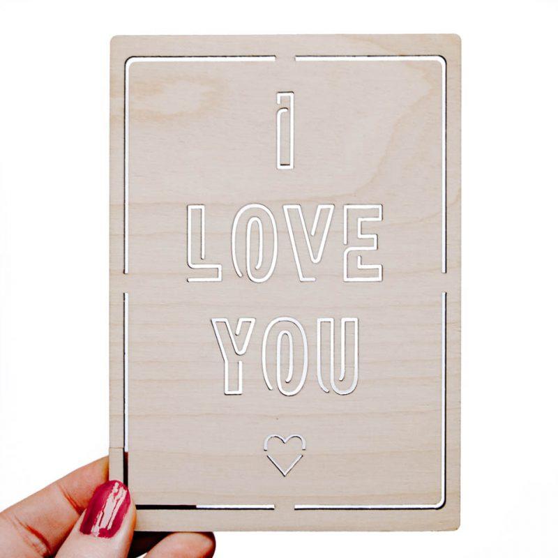 Houten Kaart - I Love You
