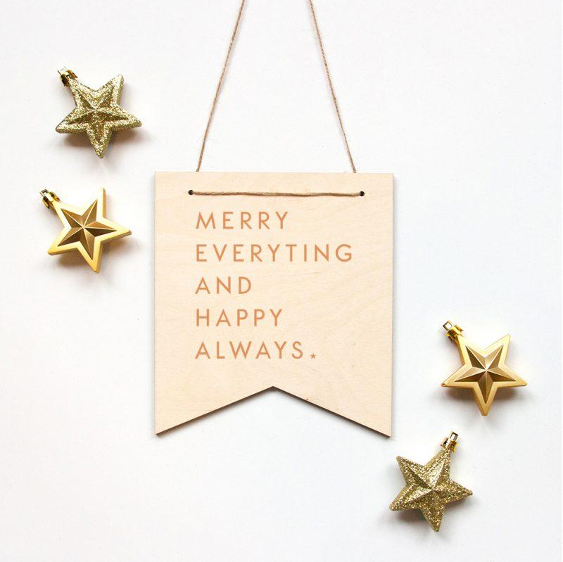 Houten banner Merry Everything