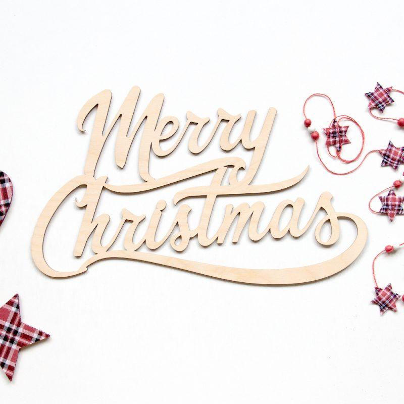 Houten tekst Merry Christmas