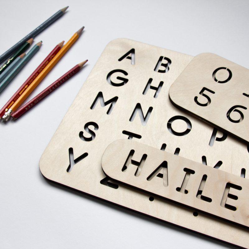 Houten Sjabloon Set - ABC, cijfers en/of naam