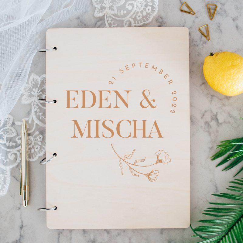 Houten Gastenboek Moderne Bloem