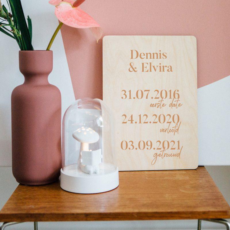 Houten Poster Trouwdag Datums