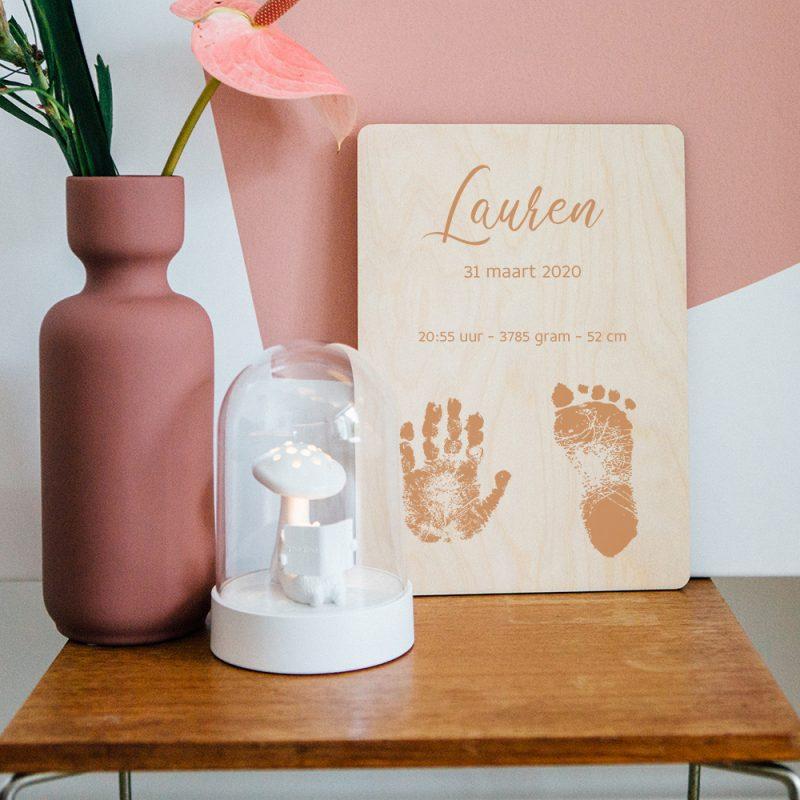 Houten Poster - Hand- en Voetafdruk