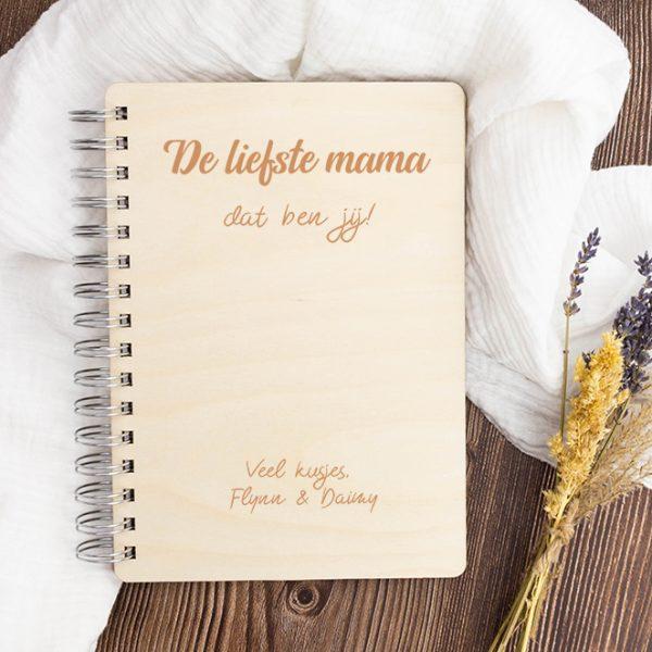 Houten Notitieboek Moeder- en Vaderdag - Speels